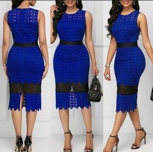 Women's Sleeveless Lace Blue & Black Bodycon Dress